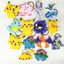 Keychain Pokemon Pocket Monster Pikachu Blastoise Mewtwo Venusaur Ivysaur key chain motorcycle ring holder keyrings Pendant gift(China)