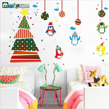 The New Christmas Christmas Penguin Cartoon Wall Stickers Children Room Cute Decorative Wall Stickers Best Christmas Gift(China)