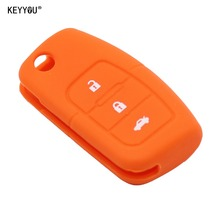 KEYYOU 3 Button for Ford focus 2 Ecosport Silicone Car key Cover remote Case for Fiesta Focus Mondeo Ecosport Kuga Orange(China)