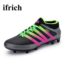 Men Children Football Shoes Long Spikes Outdoor Soccer Shoes Training Cleats Boys Kids Soccer Cleats Brand Football Trainers
