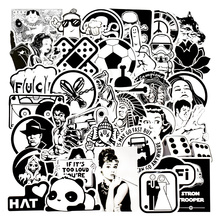 100Pcs Diy Stickers mixed random black and white Stickers For Cars Bicycle Skateboard Luggage Vinyl Decal Home Decor JDM Sticker(China)