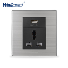 Universal 3 Pin Socket With Usb Port Wallpad Luxury Wall Power Socket USB Charger Wall Electrical Sockets 5V 1000MA