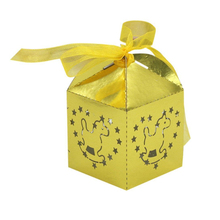 KAZIPA 50pcs Laser Cut Rockie Horse Gift Candy Cake Favor Boxes Decoration Box for Wedding Party Favor Shinn Gold