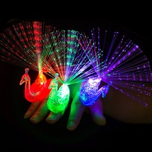 1Pcs LED Glow Peacock Finger Light Laser Beams Ring Optical Fiber Toy Flash Kid Fluorescent Shiny Neon Flashing Party Decoration
