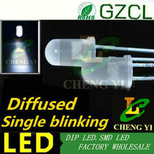 White 1.5Hz single blinking light emitting diode 5mm diffused dip led 6000-7000K 3.0-3.5V flash 90times/min