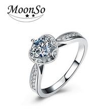 Moonso Hot Fashion Silver Ring Finger AAA CZ Diamond for Women Jewelry Pure Silver Wedding Engagement  LR869