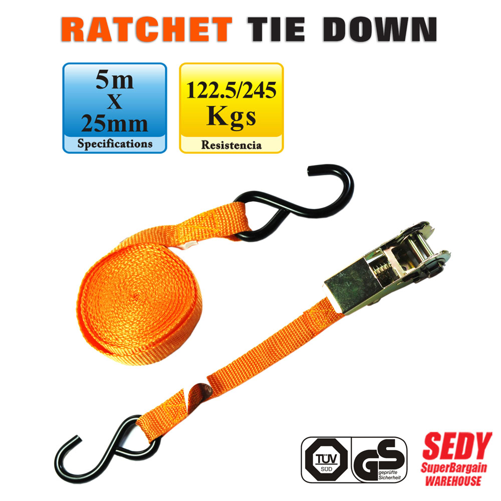 SEDY Cambuckle Tie Down Straps 5m x 25mm Ratchet Strap Retractable Adjustable Belt Ropes Cord 97102<br><br>Aliexpress