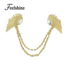 Spring Hot Selling Accessories Steampunk Chain With Wing Clip Collar Maxi Necklaces & Pendants For Women(China)