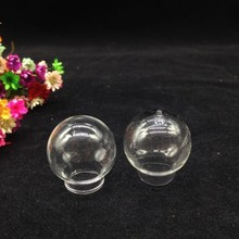 10pieces clear empty glass globe, glass bubble DIY vial pendant round glass ball Bottle, charm wide mouth open or hole on bottom(China)