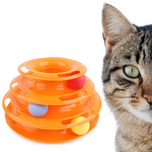 Top Quality Funny Cat Pet Toy Cat Toys Intelligence Triple Play Disc Cat Toy Balls Ball Toys Pets Green Orange Entertainment(China)