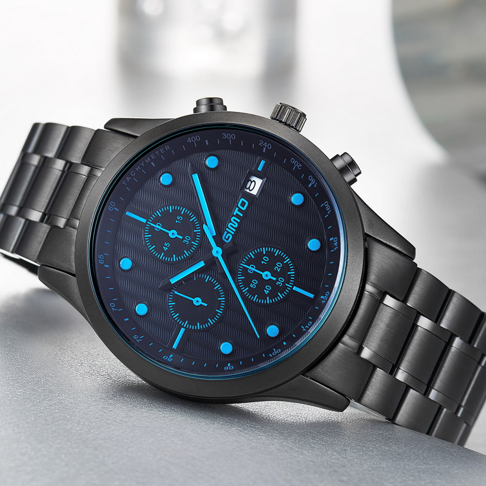 GIMTO Auto Date Watch Men Water Resistant Stainless Steel Men Watch Fashion Dress Business Design Leather Winner Quartz-Watch<br>