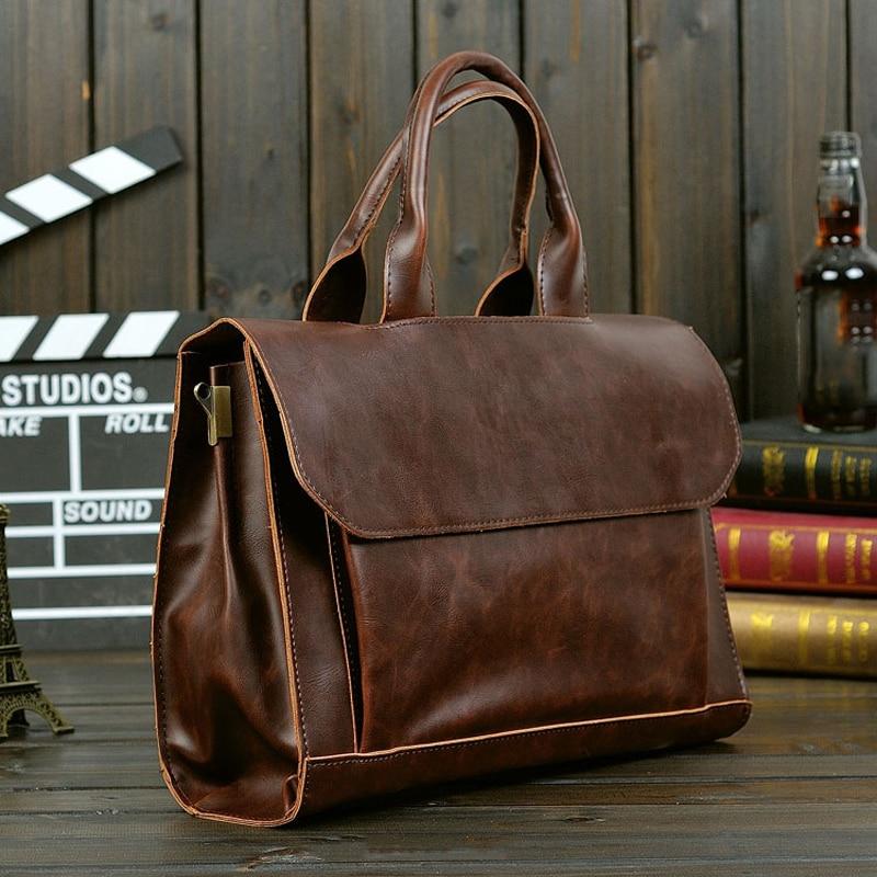 Men bag business style 2018 vintage handbag men briefcase laptop bag Hard PU leather bag men messenger bags M0041<br>