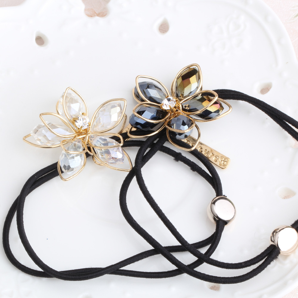 M MISM 1PC New High Quality Women Hair Accessories Ponytail Hair Tolder Rhinestone Hair Tie Scrunchies Flower Elastic Hair Band(China (Mainland))