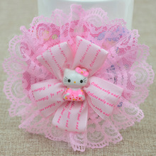 Hot Sale Cute Kids Hello Kitty Princess Hair Clips Lace Flower Bowknot Hairpins Ribbon Grid Yarn Hair Accessories Barrettes(China)