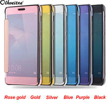 Plating Mirror Screen Clear View Flip Cover for 5.2 inch Huawei Honor 5C Case Protector Cell Mobile Phone Back cover Bags Skin