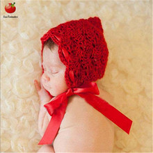1pc Baby Hat Red Crochet Pixie Beanie Hat Silk Ribbon Newborn Photography Prop Hat Knitted Baby Girls Boys Crochet Knit Costume