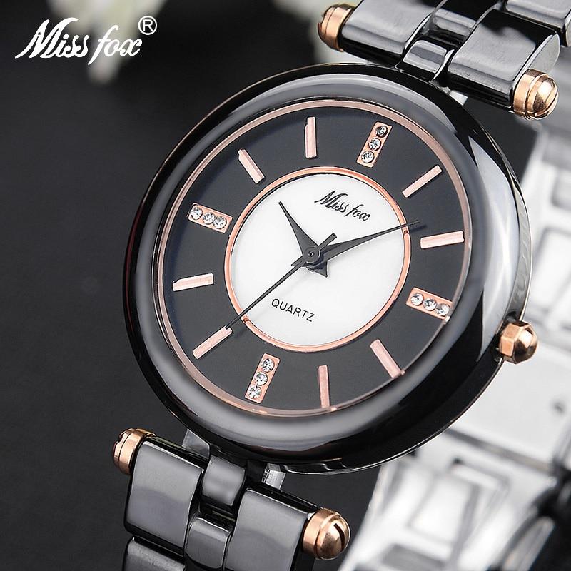 Miss Fox Luxury Womens Quartz Wristwatch Black White Ceramic Female Watch  Butterfly Button Ladies Cool Watches Clocks Mujer<br>
