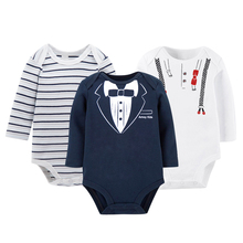 KAVKAS 3pcs/set Baby Boys Clothes Winter Baby Christmas Wear 100% Cotton Body  Long Sleeve Newborn Baby Boy Clothes