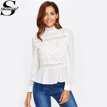 Sheinside Lace Panel See Through Peplum Blouse White Sexy High Neck Long Sleeve Button Blouse 2017 Women Elegant Blouse(China)