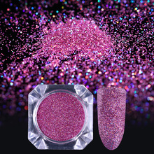 Ultrafine Holo Nail Glitter Powder Rose Red Brown 0.1mm 0.3mm Holographic Nail Dust Manicure Tips Decoration