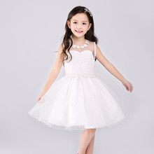 2017 Latest Girls Dress With Transparent Back White Sleeveless Vestidos  Formal Costume For Party Child Clothes SKF154045