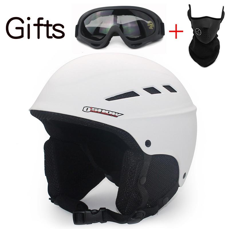 OSHOW Ski Helmet For Adult Half-Covered Snowboard Helmet Sports Helmet Women Helmet Covers 58-62cm Head Safety Skate Light<br>