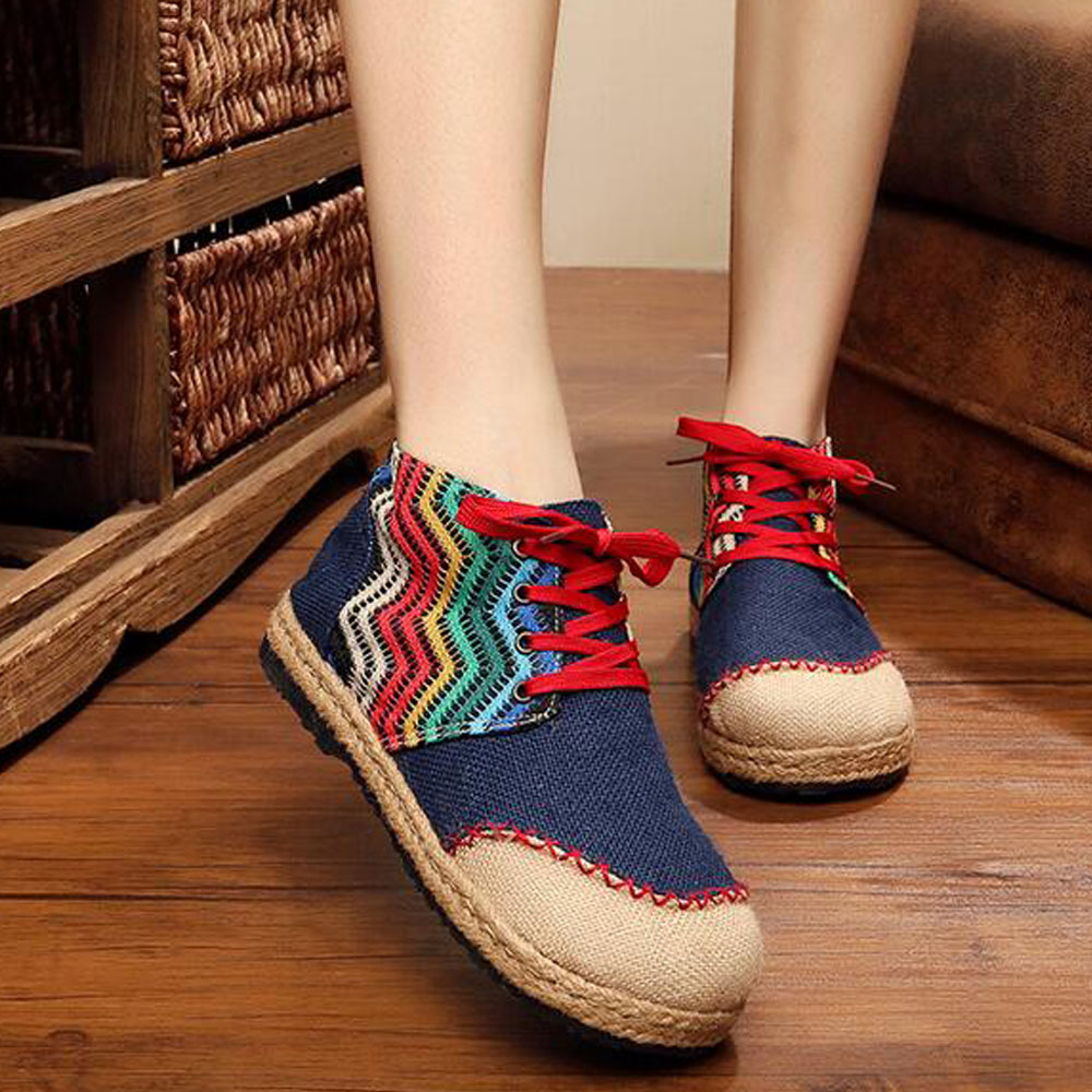 Women Shoes Vintage Shoes Thai Boho Cotton Linen Canvas Cloth Single National Woven Round Toe Flat Shoes Embroidered<br>