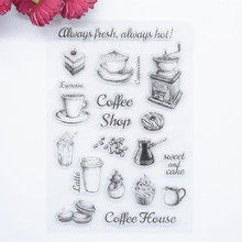 2017 brand new Scrapbook DIY Photo Album Account Transparent Silicone Rubber Clear Stamps Famous Coffee Shop 11x16cm(China)