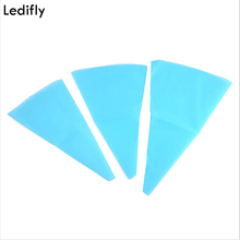 Ledifly 3 Sizes Silicone Reusable Icing Piping Cream Pastry Bag DIY Cake Decorating Tool Kitchen Cakes Supplies