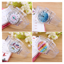 Transparent Clock Silicone Watch Women Sport Casual Quartz Wristwatches Novelty Crystal Ladies Watch Cartoon Reloj Mujer LZ2062(China)