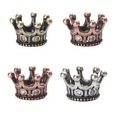 Buy 1pc 11*7mm Vintage Copper Zircon Charms Imperial Crown Pendant Necklace Bracelets Spacer Beads DIY Metal Jewelry Making for $1.40 in AliExpress store