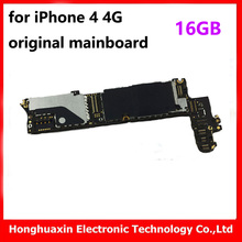 100% good testing for iphone 4 4G 16GB original unlocked motherboard good working main board installed IOS system logic board