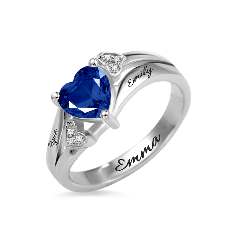 Heart Engraved Birthstone Ring 925 Sterling Silver Valentine's Day Gift