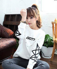 Spring autumn kpop got7 member name printing o neck sweatshirt for women harajuku style star hoodie  jackson moletom