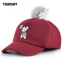 TQMSMY Cute dog Baseball caps boy sun hat children Snapback cap kids casual bone Cotton Real rabbit fur ball hats for boys gorro(China)