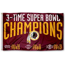 Washington Redskins 3 Time Super Bowl Champions Outdoor Indoor American Football Flag 3X5FT Drop Shipping Custom Club Sport Flag