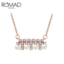2017 Romad Charms Beads Long Necklace Rose Gold Color Wedding Pendant Chain Punk Romantic Mother's Gift Fashion Jewellery(China)