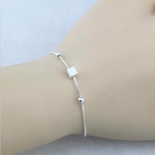 Sterling Silver Jewelry 925 Sterling Silver  Cube Bracelets For Women Fashion Bracelet Girls Gift Free Shipping