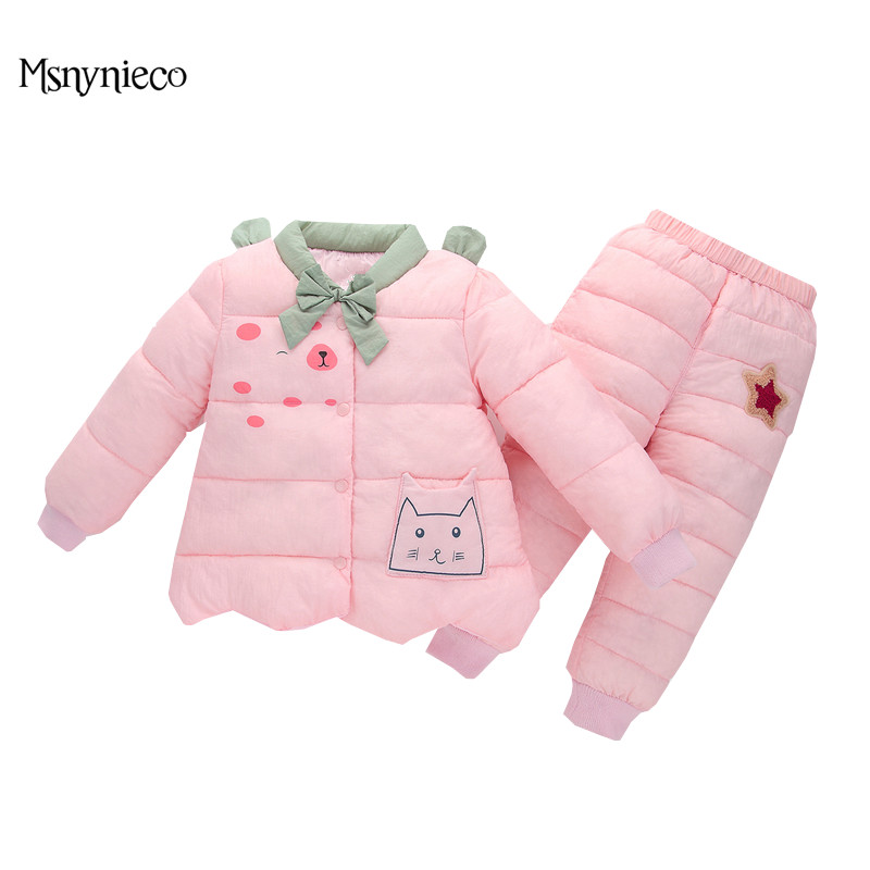 Kids Suits 2017 Casual Winter Cotton Baby Girls Jacket Warm Children Outerwear+Trousers Snowsuit Baby Girls Clothing Sets<br>