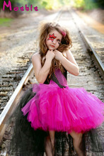 Hot Pink&black Children Girl Tulle Tutu Dress Rockstar Queen Tutu Dress Kids Girl Rock&roll Dresses Girl Photo Props  DT- 1636