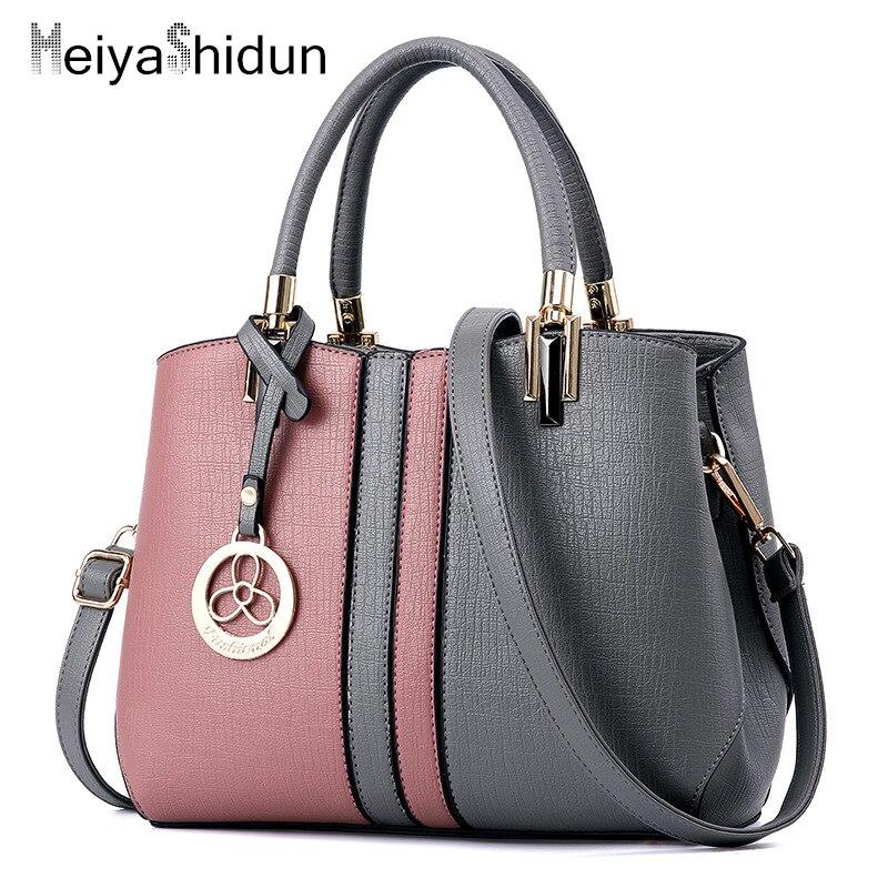 New designer leather handbags Women Messenger Bag patchwork Top Handbag Lady shoulder bag famous brands woman bags clutches sac<br>