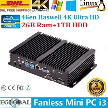 Mni PC Embedded Processor Intel Core i3 4010U DHL Free Shipping 2GB DDR3L 1TB HDD HTPC All alloy case 2*COM+HDMI+VGA+USB3.0(China)