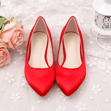 Fashion high quality flats shoes for women casual shoes flat heel stain and silks flats red and white flats women wedding shoes