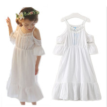 Summer Rushed Real Solid Clothing 2017 Flower Girls Off Should Princess Dress Kids Baby Party Wedding Pageant Dresses Clothes