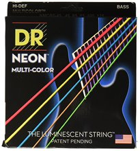 DR Strings NMCB5-45 DR NEON 5 Bass Guitar String, Medium, Multi-Color 45-125, and 7 More Color Available