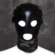 Buy PU Leather Hood Mask Bondage Restraint Open Mouth Eye Sex Mask Fetish Adult Game Flirting Sex Toys Love Game Sex SM Products