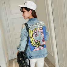 Loose Boyfriend Style 2017 Denim Jacket Women Ripped Hole Design Colored Beauty Red Lips Print Jeans Jackets Coats Outerwear