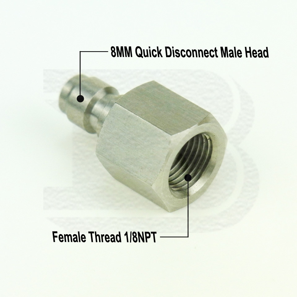 Paintball Steel 8mm Female Quick Disconnect Adapter 1//8NPT Male  Fill Nipple