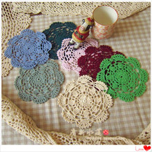 free shipping 30 pic/lot colorful round corchet lace doilies led coaster mats flet for home decor cup pad for coffee table pad