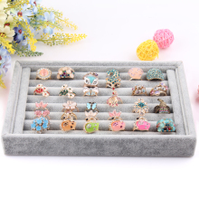 2014 Free Shipping,Wholesale New Gray color Jewelry Rings Display Show Case Organizer Tray Box